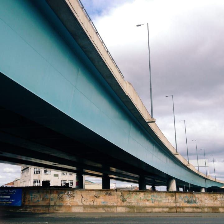 View from beneath a large carriageway.