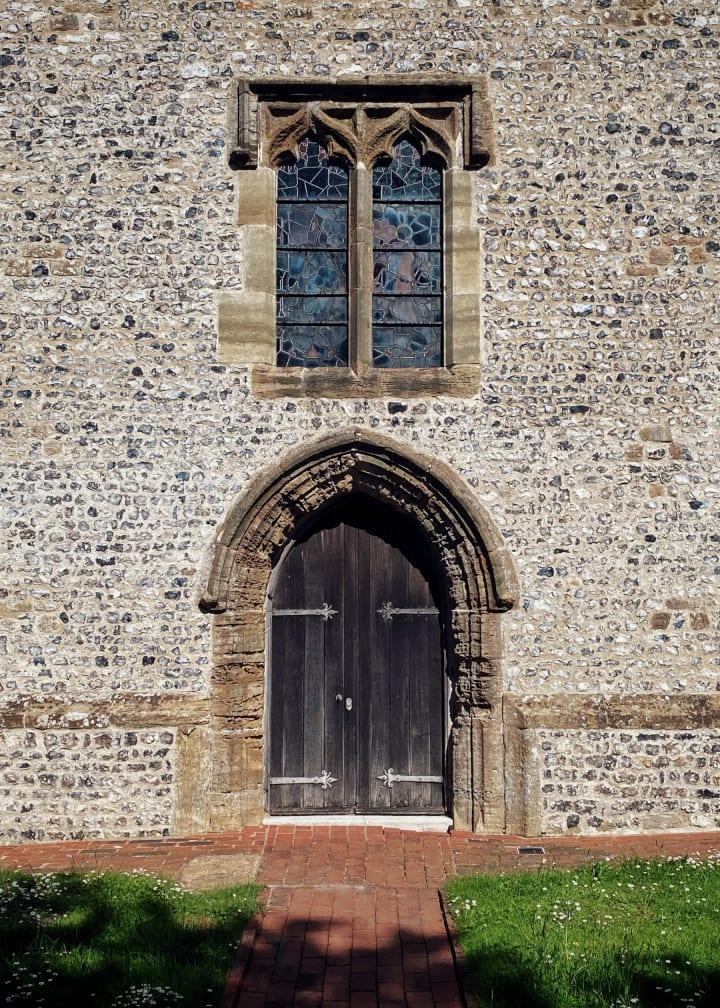 Door and window, St. Martin's church in Westmeston.