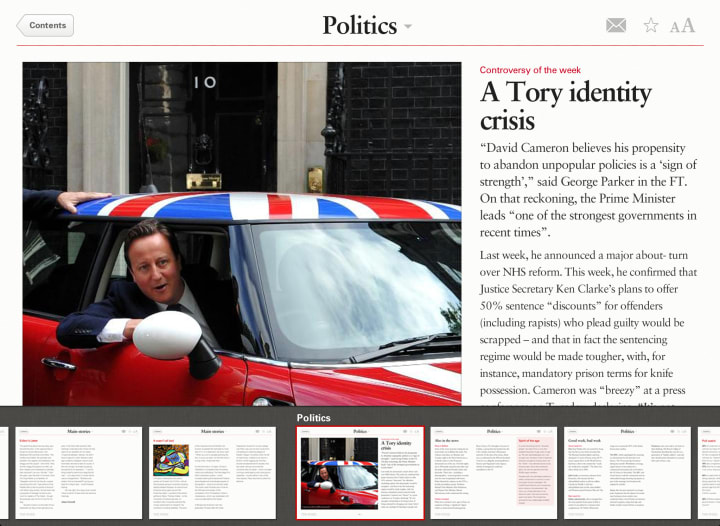 Screen showing the first page of the selected politics story