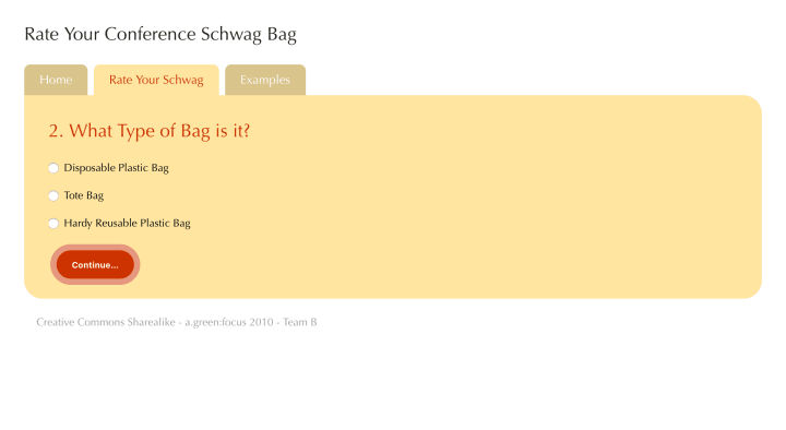 A form within the flow for rating schwag.