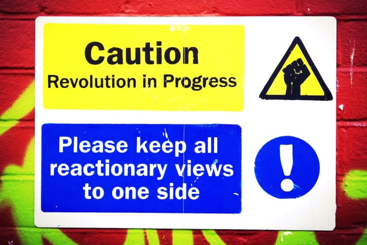 Parody notice with the appearance of a safety sign