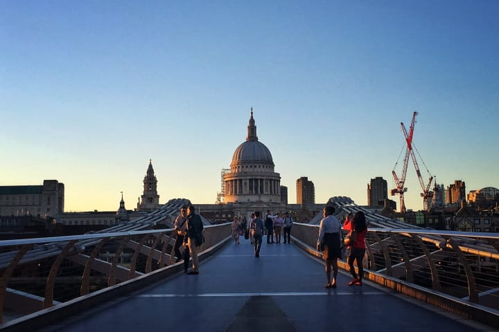 Millennium Bridge with St. Paul's Cathedral in the distance.