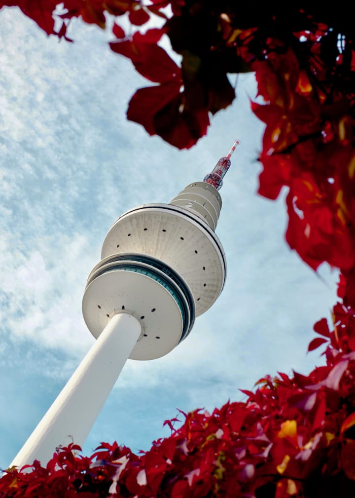 Hamburg's TV Tower taken from a viewpoint that surrounds it with red leaves