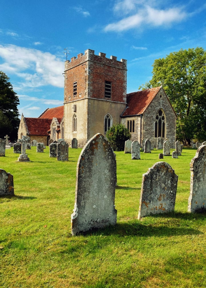 Church and a graveyard.