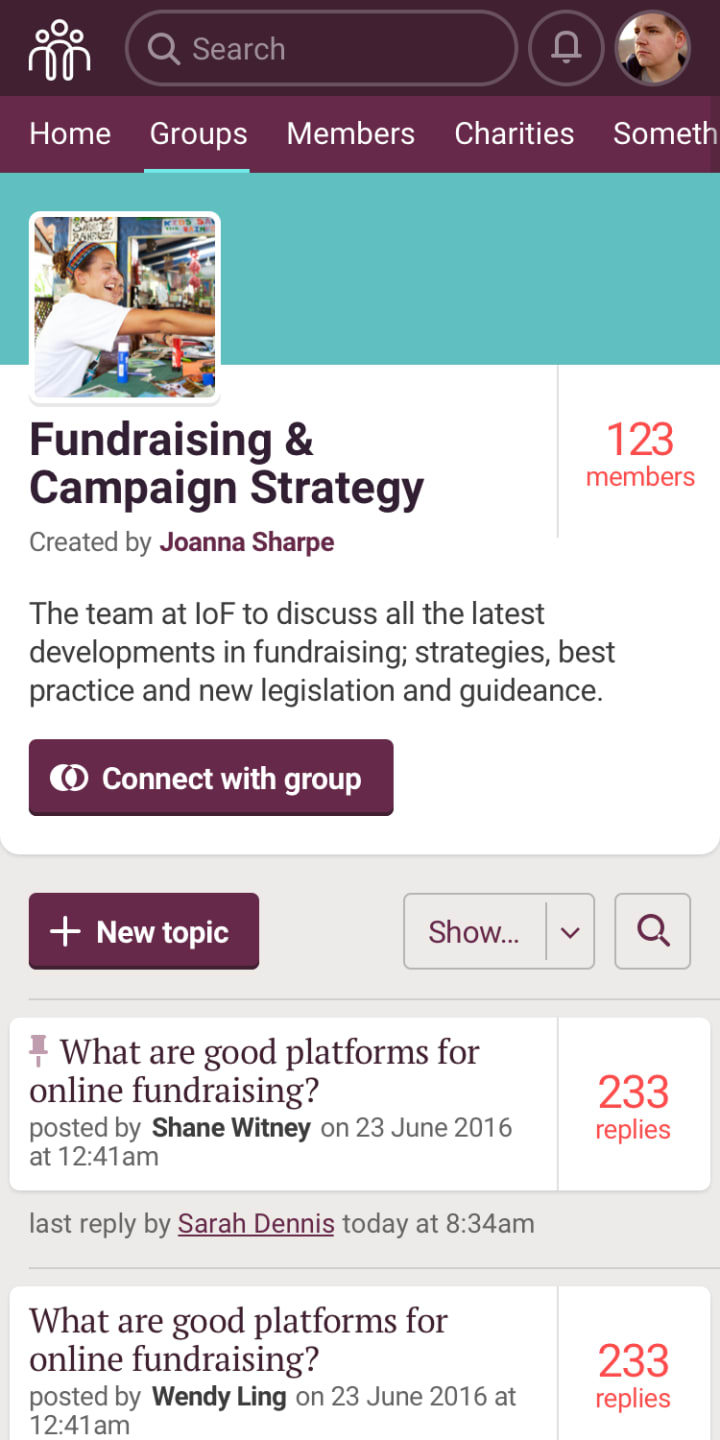 Group profile page on mobile
