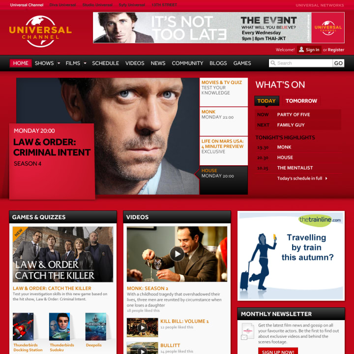 Universal Channel home page