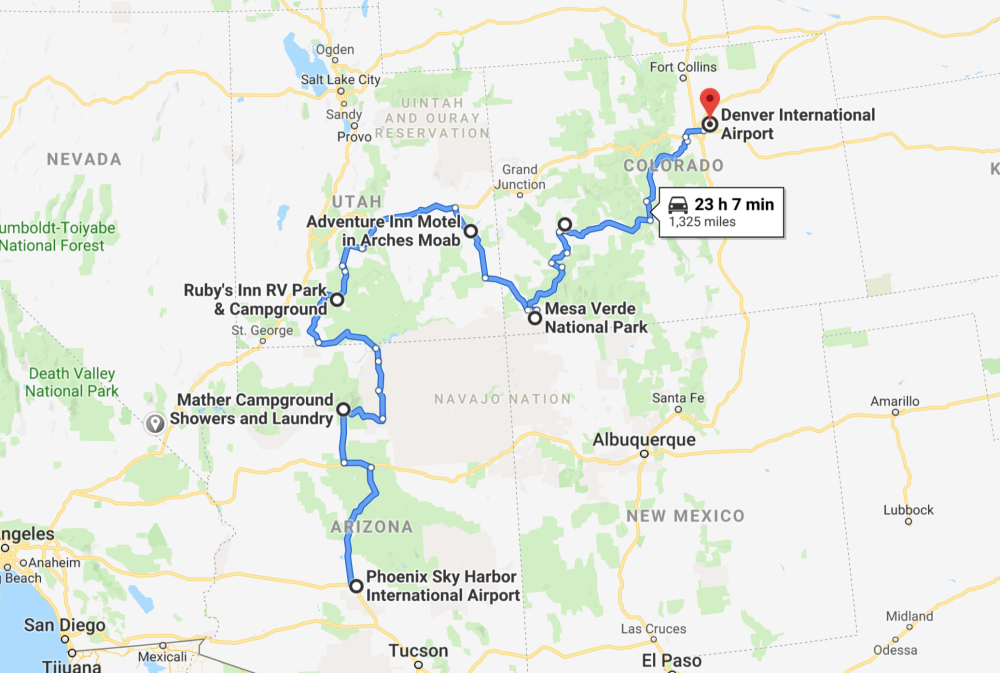 map of road trip through the southwest