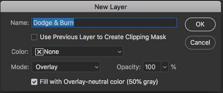 New Layer Dialog Box in Photoshop with options