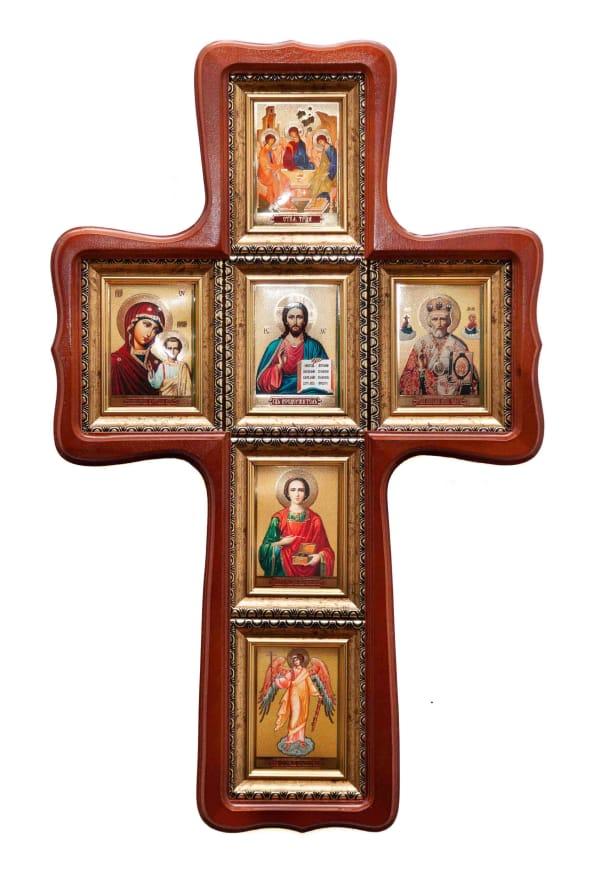 Икона крестообразная, иконостас из 6 икон, Святой Троицы, Спасителя, Казанской иконы Божьей Матери, Святителя Николая, Ангела Хранителя, Пантелеймона Целителя иконы в багетной раме