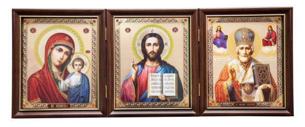 Складень тройной, Спаситель, Казанская Божья Матерь, Святитель Николай, в багетных рамах 15х18