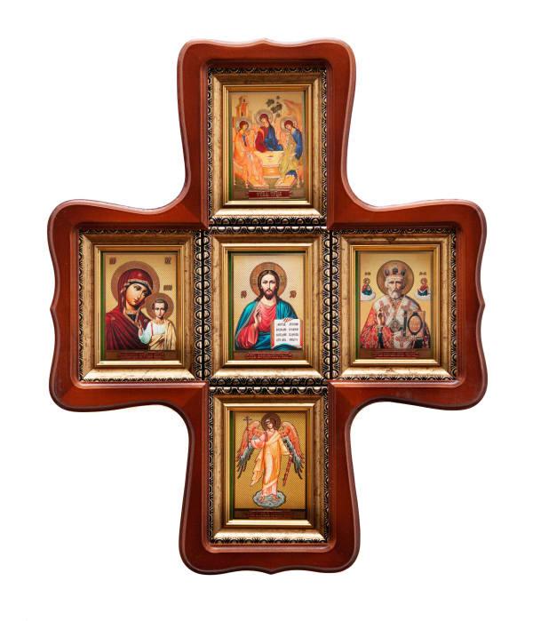 Икона крест фигурный, иконостас крестообразный из пяти икон Святой Троицы, Спасителя, Божьей Матери Казанской, Святителя Николая, Ангела Хранителя в багетных рамах