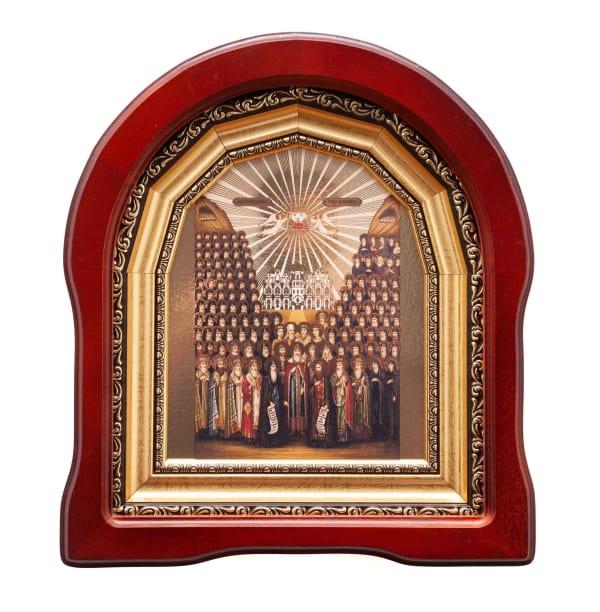 Икона собор всех преподобных отцов Киево-Печерских в арочном киоте, с багетной рамой