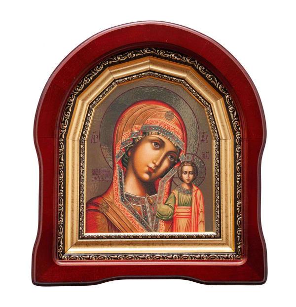 Казанская икона Божьей Матери в арочном киоте, с багетной рамой, копия греческой иконы, 15х18