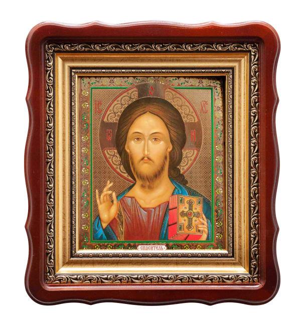 Икона Спасителя, византийский стиль, в фигурном киоте, с багетной рамой