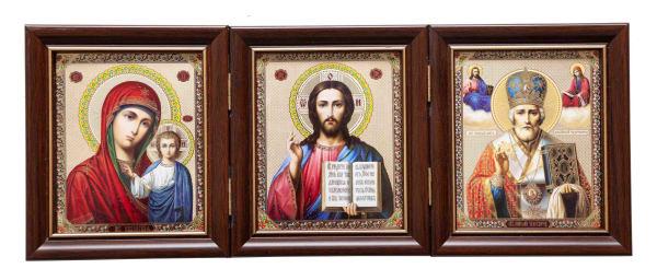 Складень тройной, Спаситель, Казанская Божья Матерь, Святитель Николай, в багетных рамах 10х12