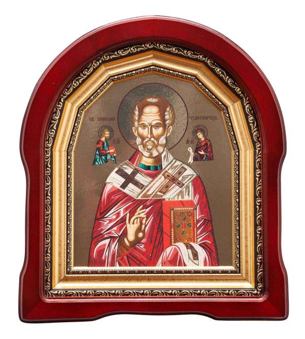 Икона Святителя Николая в арочном киоте, с багетной рамой, 18х22