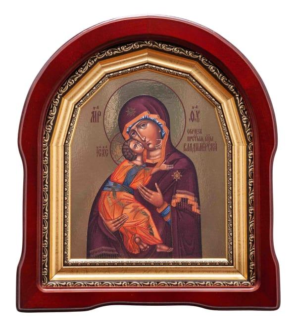 Владимирская Божья Матерь икона  в арочном киоте, с багетной рамой, 18х22
