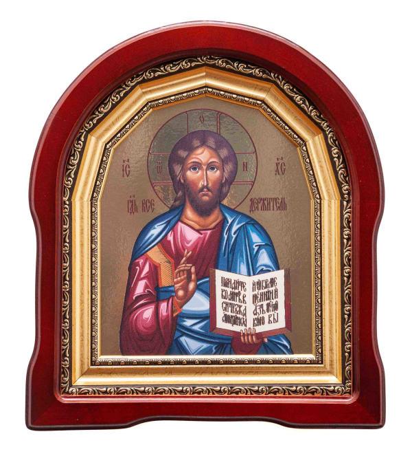 Икона Спасителя в арочном киоте, с багетной рамой
