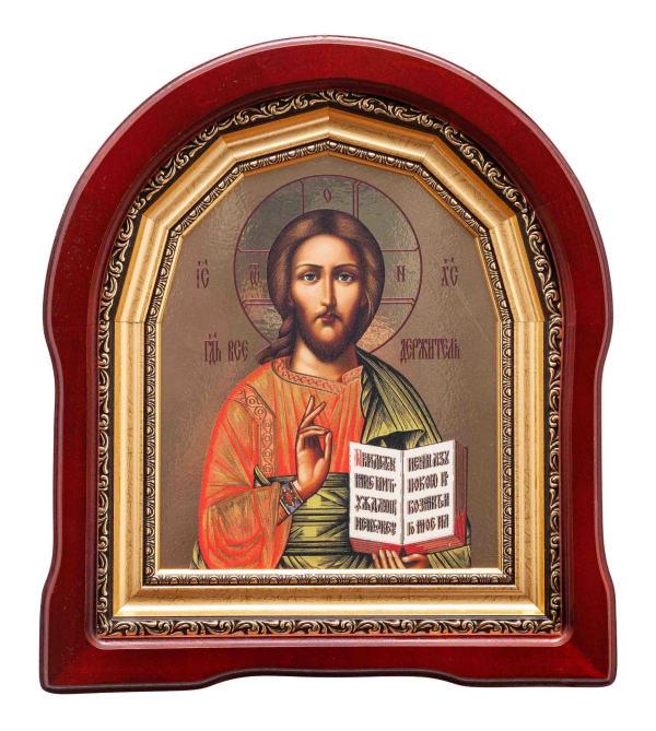 Икона Спасителя  в арочном киоте, с багетной рамой, копия греческой иконы