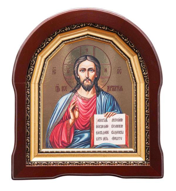 Икона Спасителя в арочном киоте, с багетной рамой, живописный стиль, 18х22