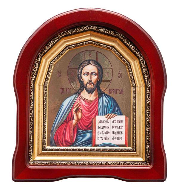 Икона Спасителя в арочном киоте, с багетной рамой, живописный стиль, 15х18
