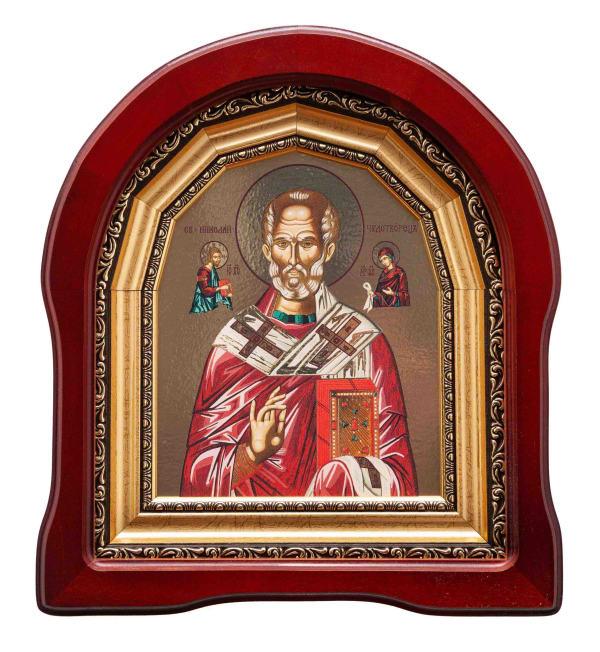Икона Святителя Николая в арочном киоте, с багетной рамой, 15х18