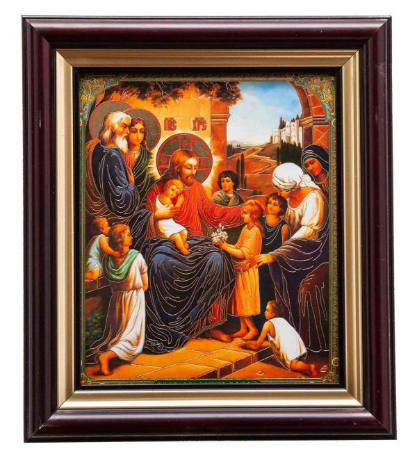 Благословение детей, икона в багетной раме 15х18
