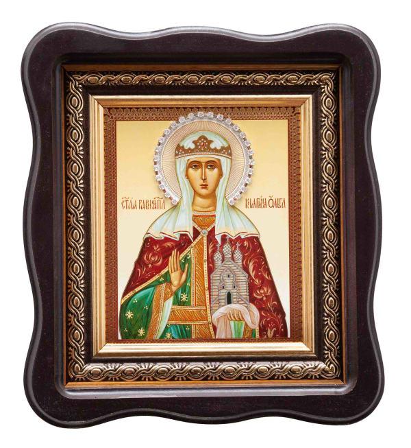 Святая равноапостольная княгиня Ольга в фигурном киоте, с багетной рамой 11х13