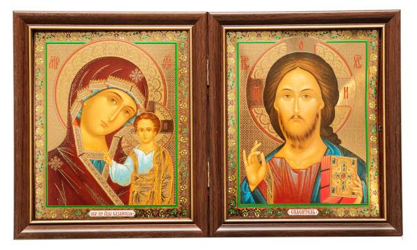 Складень двойной, Спаситель, Казанская Божья Матерь, в багетных рамах 15х18