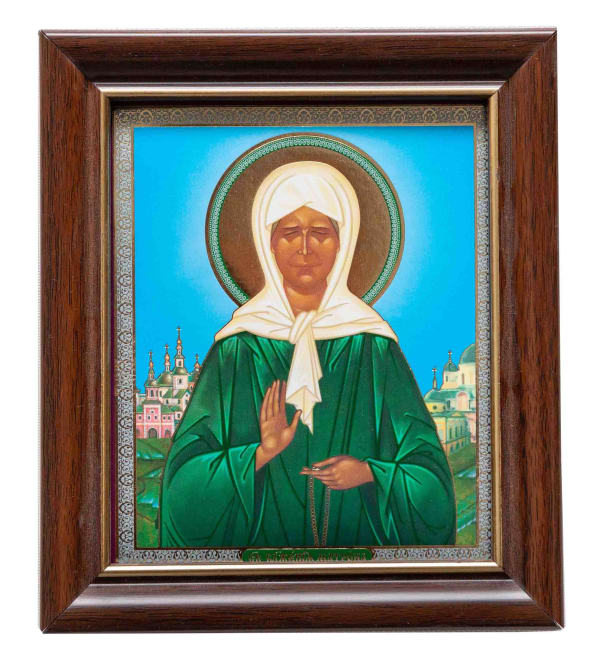 Икона Матрона Московская, в багетной раме 10х12