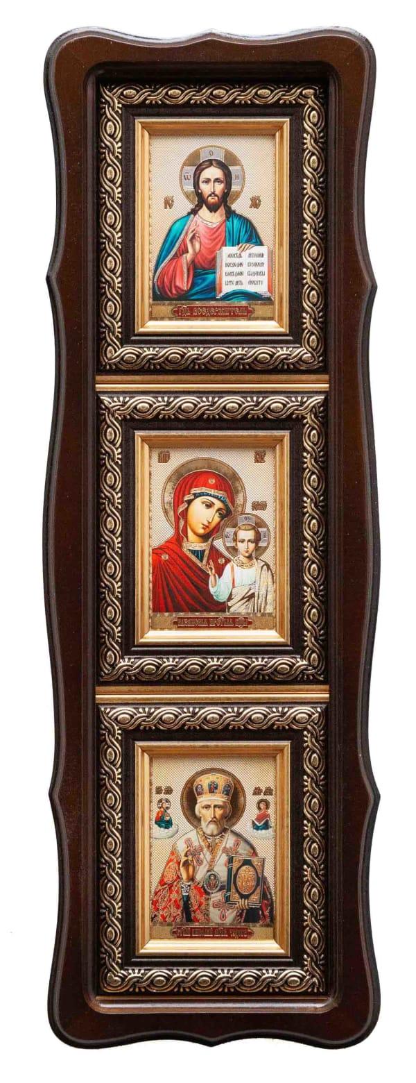Икона, иконостас вертикальный в фигурном киоте, Спаситель, Казанская Божья Матерь, Святитель Николай  в багетной раме 6х8