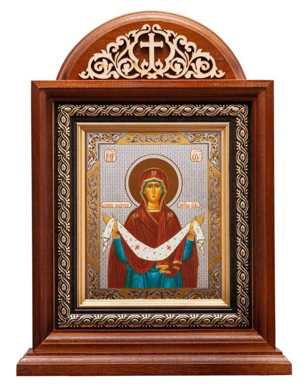 Икона Покрова Пресвятой Богородицы, киот настольный с ажурным вензелем