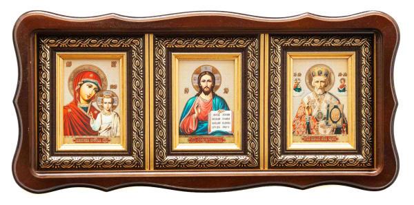 Икона, иконостас горизонтальный в фигурном киоте, Спаситель, Казанская Божья Матерь, Святитель Николай в багетной раме 6х8