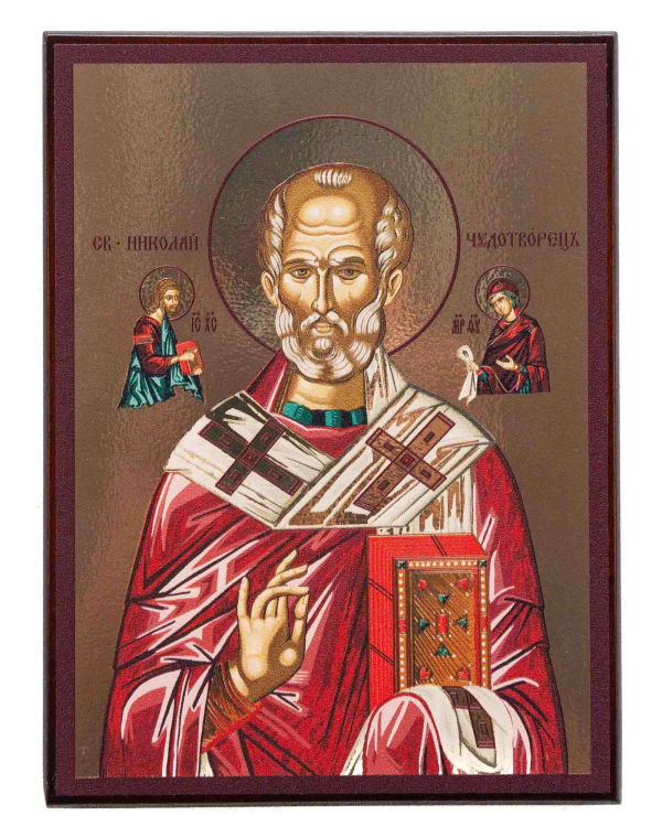 Икона Святителя Николая, византийский стиль, на доске, планшет