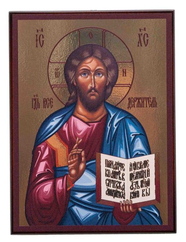 Икона Спасителя, византийский стиль, на доске, планшет