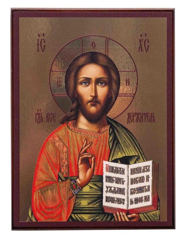 Икона Спасителя, на доске, планшет, копия греческой иконы
