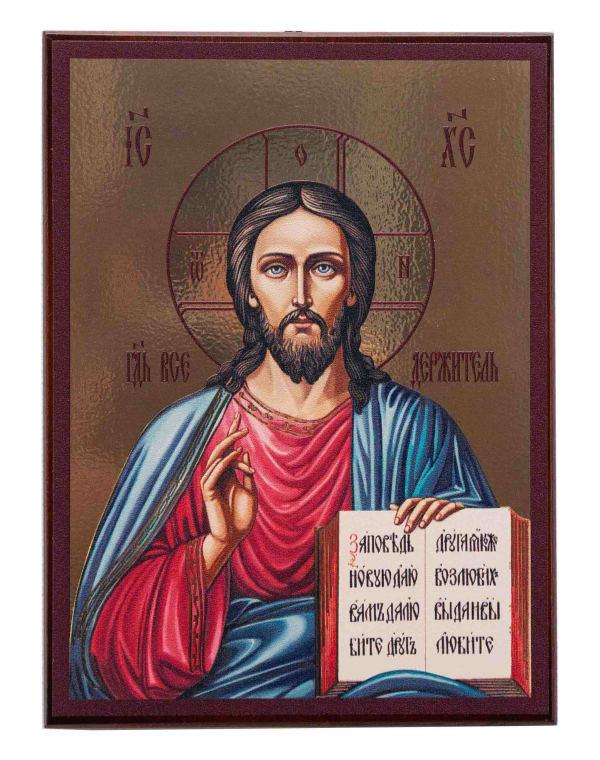 Икона Спасителя на доске, планшет, живописный стиль
