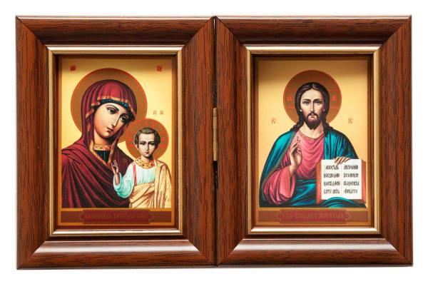 Складень двойной, Спаситель, Казанская Божья Матерь, в багетных рамах 6х8