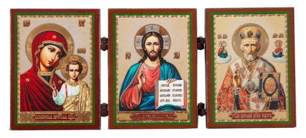 Складень тройной деревянный, иконы Спаситель, Казанская Божья Матерь, Святитель Николай, 6х8