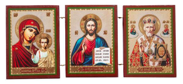 Складень тройной деревянный, иконы Спаситель, Казанская Божья Матерь, Святитель Николай, 10х12