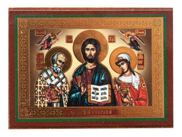 Икона автомобильная, Спаситель, Святитель Николай, Великомученица Варвара на планшете 6x4