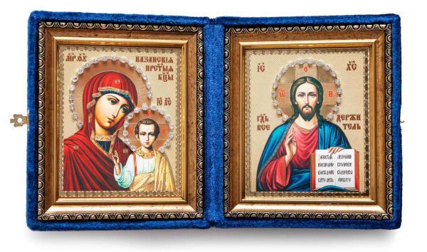 Складень подарочный из бархата, икона Спасителя и Казанской Божьей Матери, живописный стиль, в багетной раме, 10x12