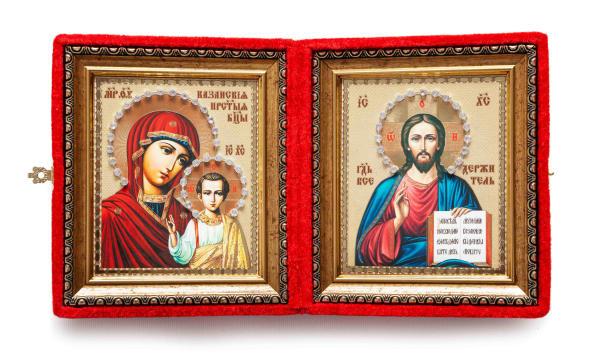 Складень подарочный из бархата, икона Спасителя и Казанской Божьей Матери, живописный стиль, в багетной раме, 15x18