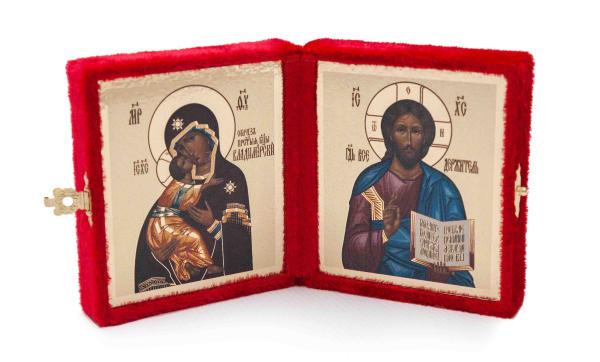Складень подарочный из бархата, икона Спасителя и Владимирской Божьей Матери, византийский стиль 6х7