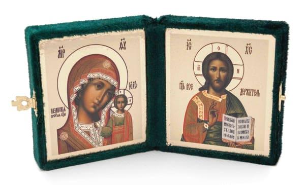 Складень подарочный из бархата, икона Спасителя и Казанской Божьей Матери, копия греческой иконы 6х7