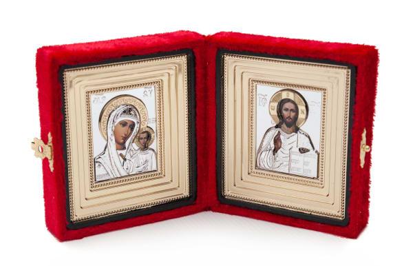 Складень подарочный из бархата, икона Спасителя и Казанской Божьей Матери, в ризах 6х7