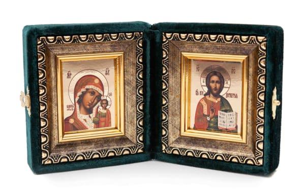 Складень подарочный из бархата, икона Спасителя и Казанской Божьей Матери, копия греческой иконы, в багетной раме 6х7