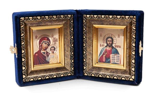 Складень подарочный из бархата, икона Спасителя и Казанской Божьей Матери, живописный стиль, в багетной раме 6х7