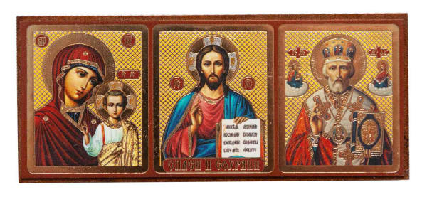 Икона автомобильная, Спаситель, Святитель Николай, Великомученица Варвара на планшете 4x9