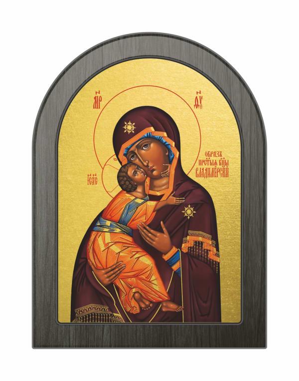 Икона Владимирская Божья Матерь, арочная доска